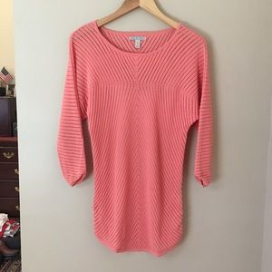 Dana Buchman Coral Open Weave Tunic Sweater Small